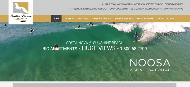 Costa Nova noosa Website Design